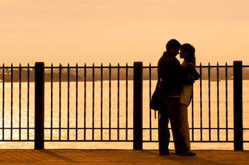 Couple embracing on Brooklyn Heights Promenade, NYC