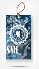 Isolated, seasonal sticker with snowflakes and text Sale