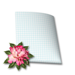 Beautiful hand drawn rose branch and sheet of paper on white iso