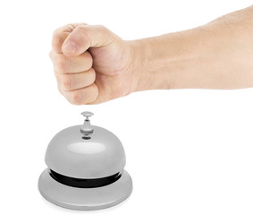 Male Fist Hitting Service Bell   Angry Customer Concept