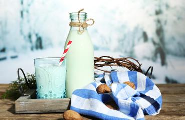 Fresh milk with natural decor,