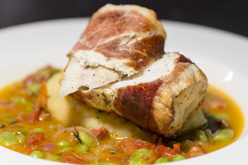 Fine Dining - Fish - Monkfish Wrapped In Ham With Vegetables