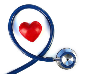 Stethoscope with heart close-up