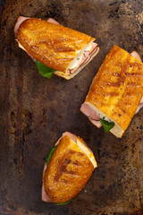 Grilled Ham and Cheese Panini Sandwich. Selective focus.