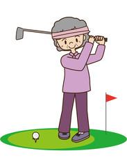 ゴルフをする高齢の女性