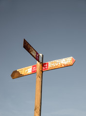 Old hiking signpost