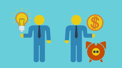 Businessmen with light bulb, dollar coin and piggy bank