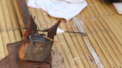 Spining cotton thread (Thai style tradintional)