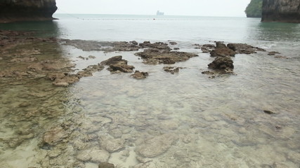 sea stony coast with very transparent water