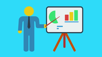 Businessman near blackboard with bar graph and pie chart