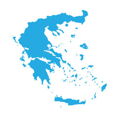 blue map of Greece