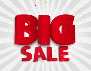Big sale poster with colorful confetti
