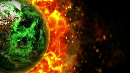 Destroyed Earth and Flames Background