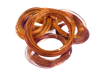 copper coils on white background