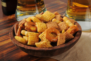 Snack mix on a bar counter