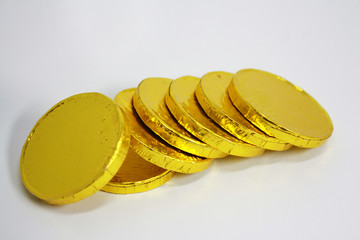 chocolate coin stacking