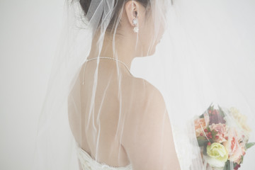 Beautiful bride that was multiplied by the wedding veil