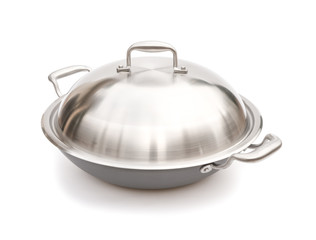 wok with lid on white with clipping path