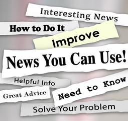 News You Can Use Newspaper Headline Articles Helpful Information