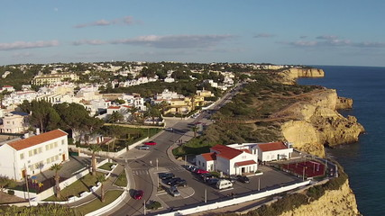 Aerial from the village Carvoeiro at the south coast in Portugal