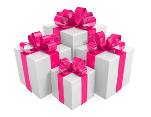 White gift boxes wrapped with pink ribbons for Valentines Day