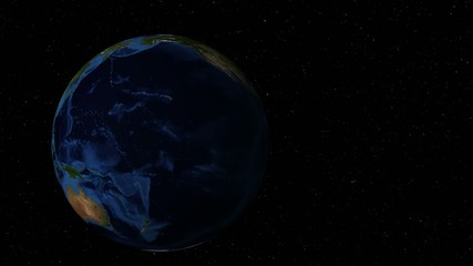 Rotating earth in zooms in to Africa with special highlights