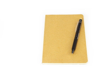 Note book and pen  isolated on white background