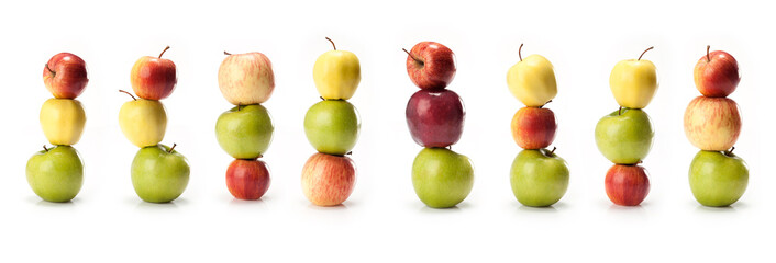 composite with  varieties of apples  on white background
