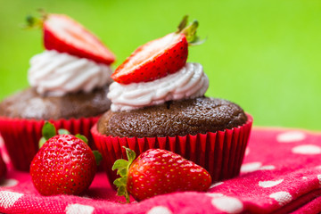 Picnic treat of coconut chocolate cupcakes with strawberries