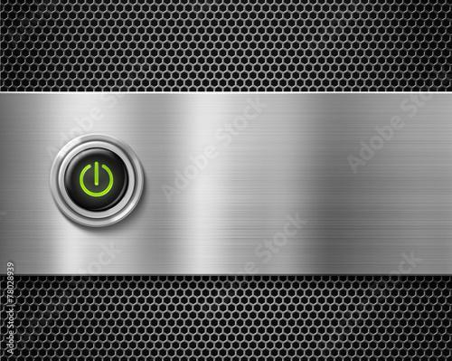 Leinwanddruck Bild start red button on metal plate background
