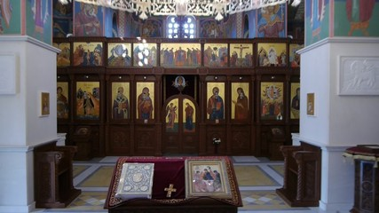 flying in orthodox church painted with lot of fresques.