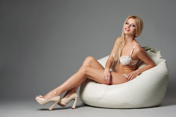 beautiful blonde sexy girl studio shot