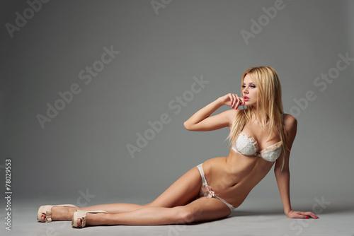canvas print picture beautiful blonde sexy girl studio shot