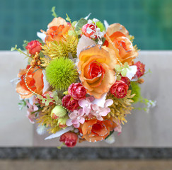 Beautiful orange and green set flower bouquet