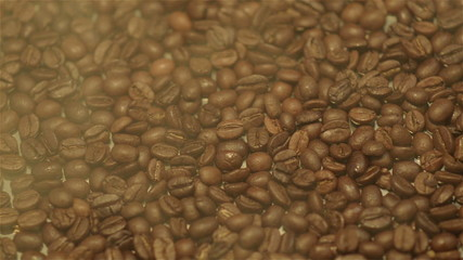 Steamy coffee beans, close-up