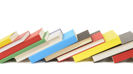 Leaning row of colorful books