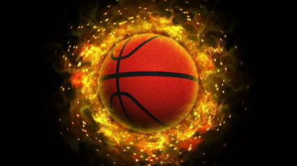 Fiery Basket Ball and Flames, with Alpha Channel