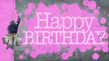 Happy Birthday wall pink
