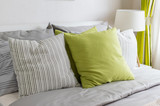 Fototapety modern bedroom with green pillow on bed