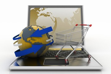 Laptop with arrow and Shopping cart with a globe.