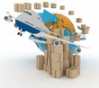 canvas print picture - Cardboard boxes around the globe  and airplane.