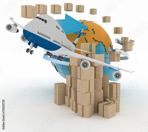 canvas print picture Cardboard boxes around the globe  and airplane.