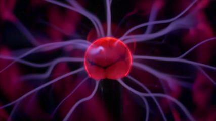 Electric (plasma) balls with lightning. Slow motion capture