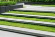 Leinwanddruck Bild - stairway with green grass and gravel texture ,landscape architec