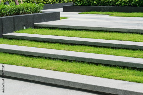 stairway with green grass and gravel texture ,landscape architec - 78031342