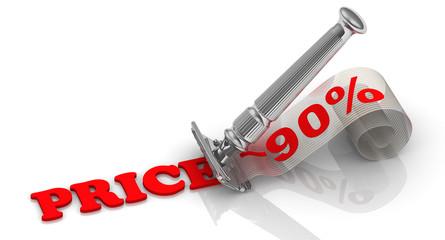 Снижение цены на 90% (Price -90%). Концепция