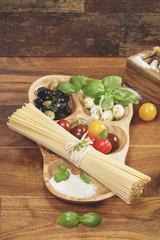 Pasta Ingredients. Ingredients for Italian Spaghetti.