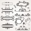 vector set with calligraphic elements