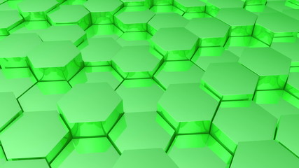Green hexagonal background.Seamless loop