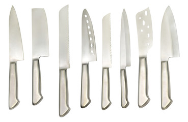 Set with various types of kitchen knives
